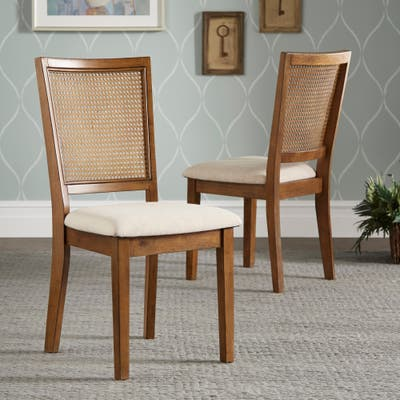 Eleanor Beige Linen Rattan Back Dining Chairs (Set of 2) by iNSPIRE Q Classic
