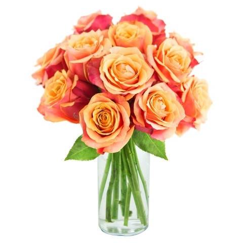 KaBloom: Bouquet of 12 Fresh Cut Orange Roses (Farm-Fresh, Long-Stem) with Vase