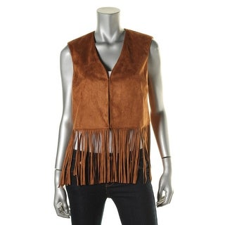 Wild Flower Womens Faux Leather Fringe Casual Vest - S