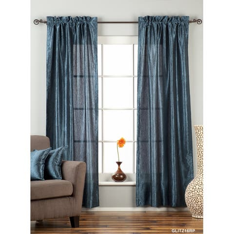 "Navy Blue Rod Pocket Textured Curtain / Drape / Panel - 84"" - Piece - 43 X 84 Inches (109 X 213 Cms)"