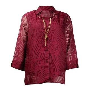 Alfred Dunner Women's 2PC Necklace Brocade Buttoned Top - Merlot