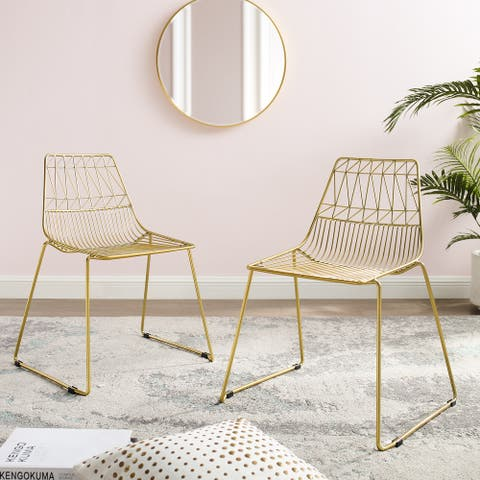 Corvus Somme Slat Back Gold Side Chair (set of 2)