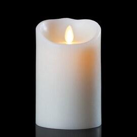 "5.5"" White Luminara B/O Flickering Flameless Unscented Pillar Candle"