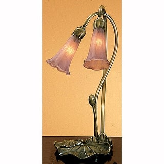 Meyda Tiffany 13209 Stained Glass / Tiffany Desk Lamp from the Lilies Collection - Cranberry