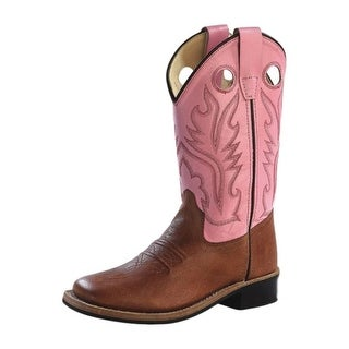 Old West Cowboy Boots Girls Kids Rubber Tan Canyon Pink