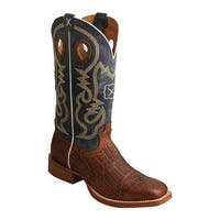 Twisted X Boots Men's MRS0057 Ruff Stock Cowboy Boot Cognac Elephant Print/Blue Leather