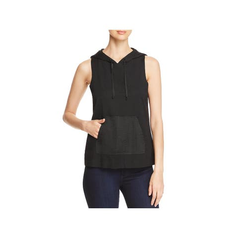 Kenneth Cole New York Womens Hoodie Mixed Media Sleeveless