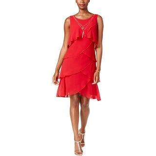 SLNY Womens Cocktail Dress Tiered Sleeveless