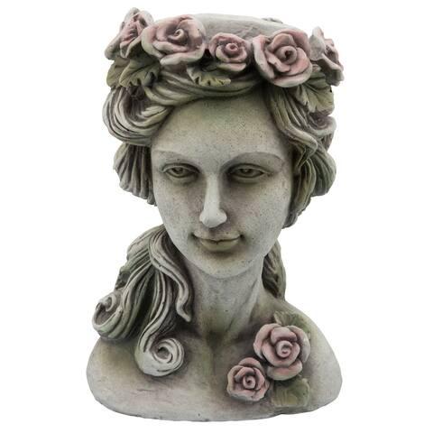 "Resin, 15""H Flower Lady Planter, Gray"