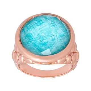 10 ct Quartz & Amazonite Ring in 18K Rose Gold-Plated Bronze