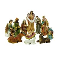 11-Piece Holy Family and Three Kings Inspirational Religious Christmas Nativity Set - GOLD