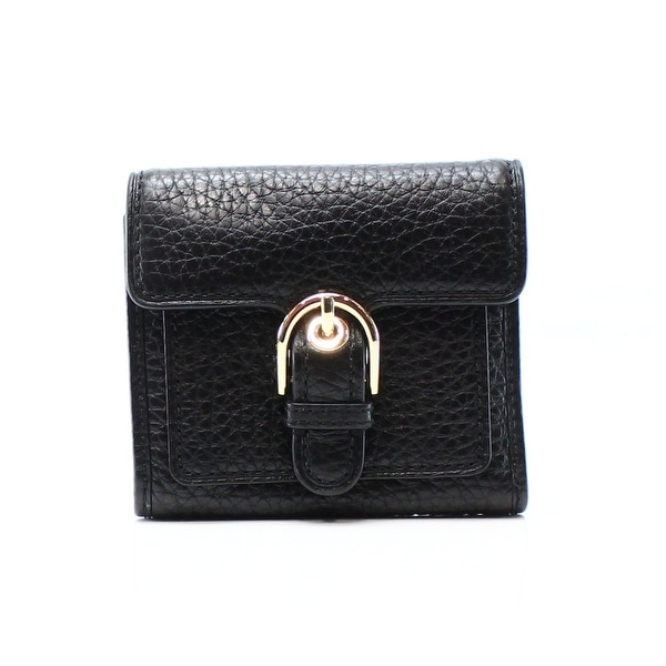 24d4a6a51865 Shop Michael Kors NEW Black Pebble Leather Cooper Cardholder Trifold ...