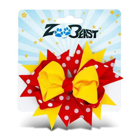 Zoo Beast Signature Collection Elegant Red and Yellow Polka Dot Hair Bow On Metal Salon Clip