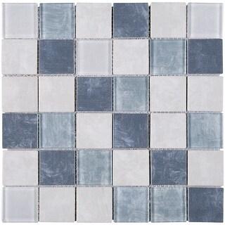 "TileGen. Recycle 2"" x 2"" Glass Mosaic Tile in Blue/Beige Wall Tile (11 sheets/10.56sqft.)"