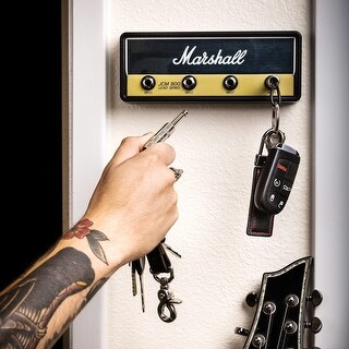 Marshall Amplifier Head Key Rack with 2 Guitar Cable Keychains