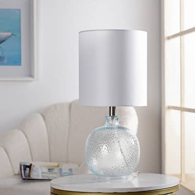 StyleCraft Glass Light Aqua Table Lamp - White Hardback Fabric Shade