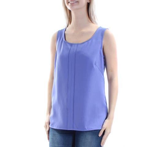 ANNE KLEIN Womens Purple Sleeveless Jewel Neck Top Size: 2