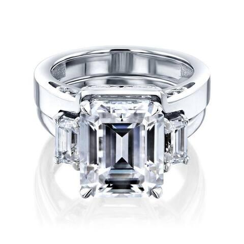 Annello by Kobelli 14k Gold CTW 3-Stone Emerald Moissanite Bridal Set (GH/VS)