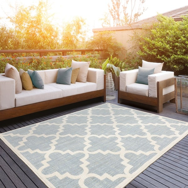 Pelican Faded Lattice Blue/ Ivory Mixed Pile Indoor/ Outdoor Area Rug by Havenside Home. Opens flyout.