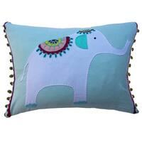 Vivai Home Turquoise Elephant Applique Rectangle 12x 16 Feather Cotton Pillow - Blue