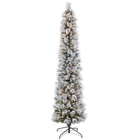 Puleo International 7.5 PreLit Flocked Pencil Tree 350 Lights