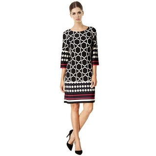 Jessica Howard Tile Print Three Quarter Sleeve Cocktail Day Dress - 12