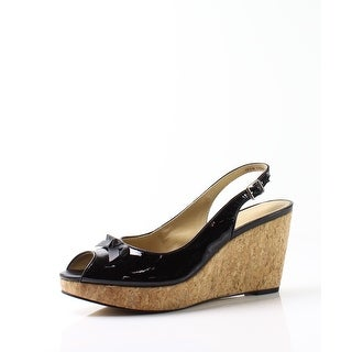 Trotters NEW Black Women Shoe Size 9.5N Allie Patent Wedge Sandal