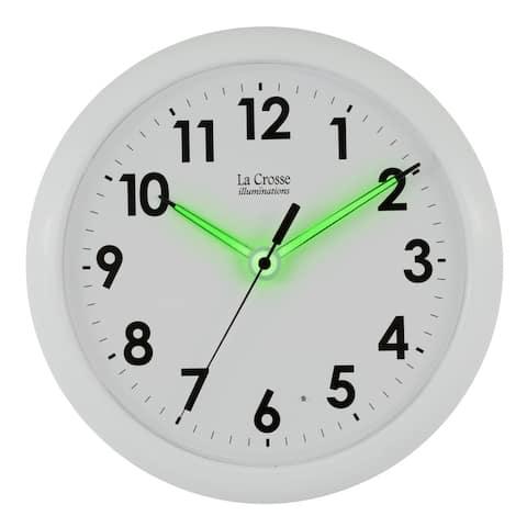 La Crosse Illuminated 403-310 10 Inch White Quartz Analog clock