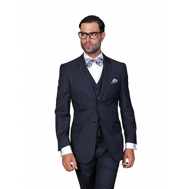 ST-100 Men's 3pc Solid NAVY Suit, Modern Fit, 2 Button, 2 Side Vent, Flat Front Pants
