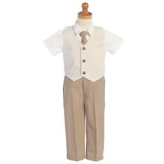 Khaki Seersucker Vest Pant Suit Set Boys 5-7