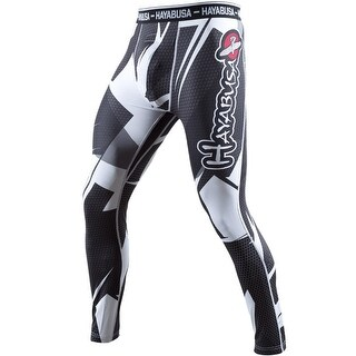 Hayabusa Metaru 47 Silver Compression Pants - Black/White - mma grappling bjj