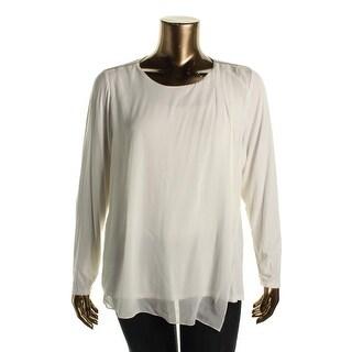 Calvin Klein Womens Plus Soft Layered Chiffon Top Beaded Shoulder Detail Blouse - 2X