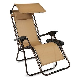 BELLEZE Shade Block Folding Chair Zero Gravity Chair Bungee Suspension Folding Chair Canopy Patio Beige UV