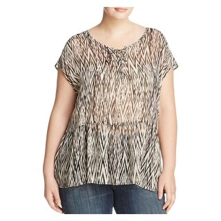 Lucky Brand Womens Plus Blouse Sheer Printed