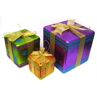Set of 3 Glittery Fantasy Gift Box Display Christmas Ornaments