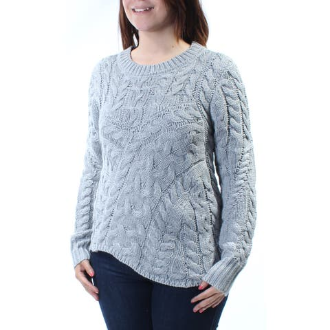 KIIND OF Womens Gray Long Sleeve Jewel Neck Trapeze Sweater Size: S
