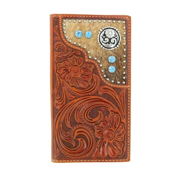 Nocona Western Wallet Mens Leather Rodeo Tooled Hair Copper - One size