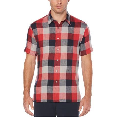 Perry Ellis Mens Checkered Button Up Shirt, Red, Medium