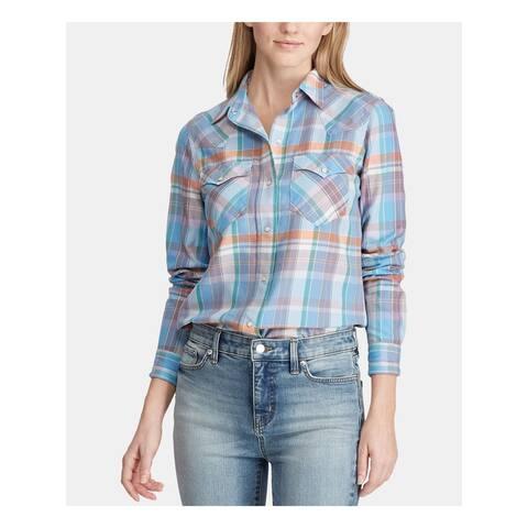 RALPH LAUREN Womens Blue Plaid Cuffed Collared Button Up Top Size M