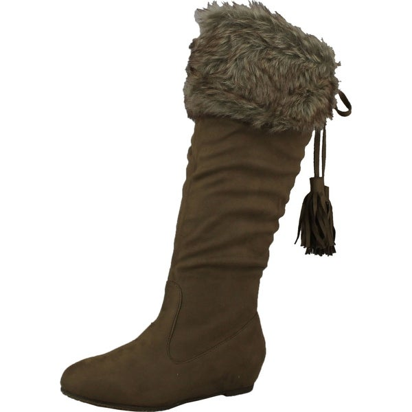 Wild Diva Womens Candies-154 Mid Calf Tassel Faux Fur Cuff Winter Boots - taupe vsued