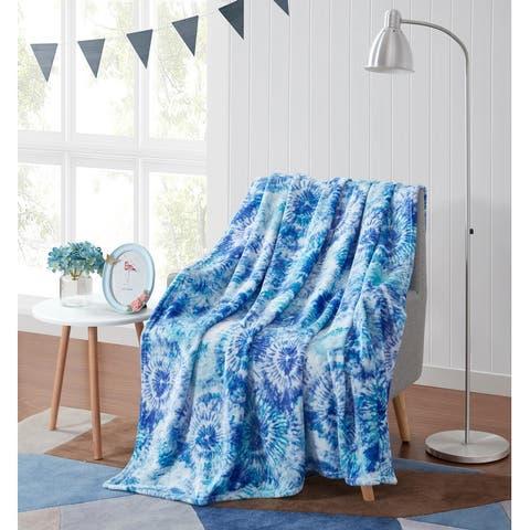 Asher Home Beachy Tie-Dye Plush Throw Blanket