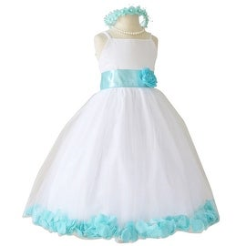 Flower Girl Dresses Rose Petal Wallao White (Baby - 14) Aqua Blue