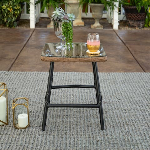 Outdoor Rattan and Metal Side Table with Glass Top