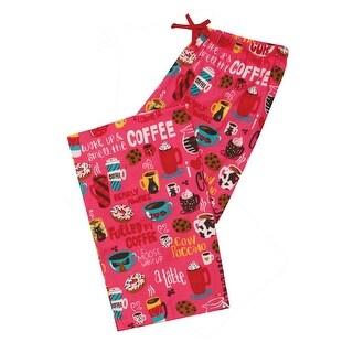Women's Pajama Pants - I Love Coffee A Latte Printed Cotton PJ Bottoms