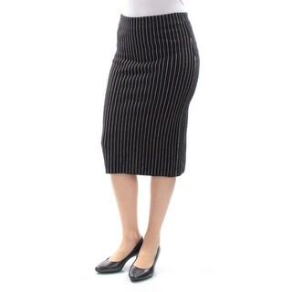 BAR III Womens Black Striped Below The Knee Pencil Wear To Work Skirt  Size: S