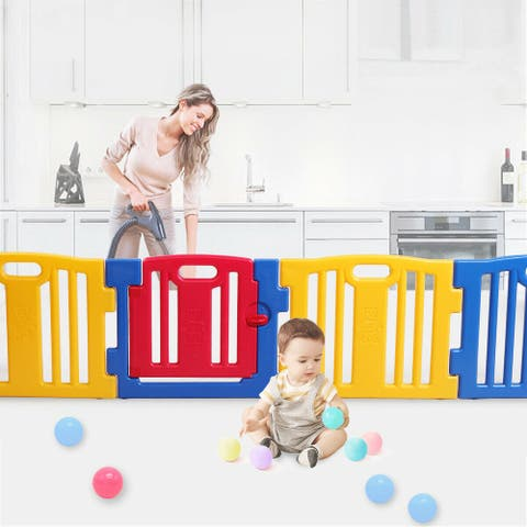 """Baby Playpen Kids 8 Panel Safety Play Center Yard Home Pen Fence - 7'9"""" x 10'10"""""""
