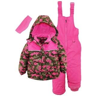Pink Platinum Little Girls' Camo Heart Print Better Ski Snowsuit Snowboard Suit