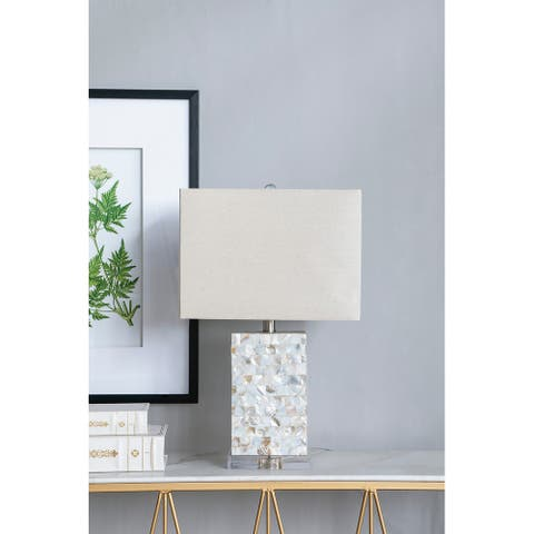 """14x8x23"""" Rectangular Pearlescent Table Lamp - white"""
