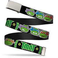 "Blank Chrome 1.0"" Buckle Classic Tmnt Group Faces Tmnt Ninja Star Black Web Belt 1.0"" Wide - S"