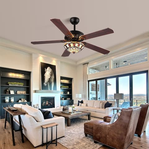 Clihome 52 In.Ceiling Fan 5 Wood Blades With Tiffany Glass Shade - N/A